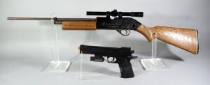 Crosman 760 BB Rifle With Tasco 4x15 Scope And Bo-Mar Colt 1911 Target Air Soft Pistol With Laser Sight (Needs Battery)