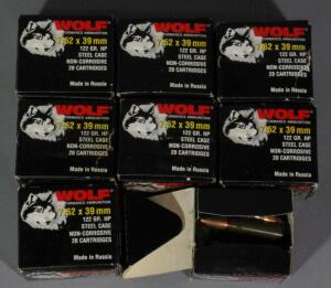 Wolf 7.62x39mm Ammo, Approx 133 Rds, Local Pickup Only