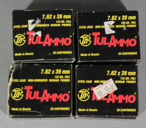TulAmmo 7.62x39mm Ammo, Approx 80 Rds, Local Pickup Only