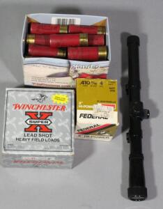 Shotgun Ammo Includes Winchester 12 ga (Approx 21), Federal 12 ga (Approx 34) Federal .410 ga (Approx 25), And Crosman 4x15 Scope, Local Pickup Only