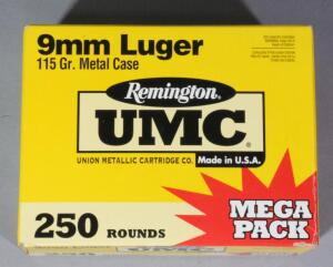 Remington UMC 9mm Luger Ammo, Approx 250 Rds, Local Pickup Only