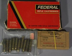 Assorted Ammo, Includes 7.62 Nagant Pistol, Approx 10, Federal 8mm Mauser, Approx 11 Rds, And 5.56 Blanks, Approx 20 Rds, Local Pickup Only