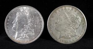 1889 And 1921 S Morgan Silver Dollars
