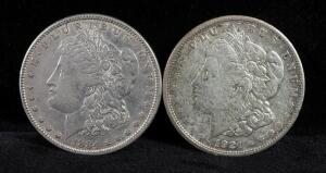 1884 And 1921 S Morgan Silver Dollars