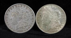 1884 And 1921 Morgan Silver Dollars