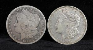 1889 O And 1921 D Morgan Silver Dollars