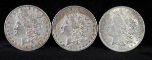 1879, 1880 O, 1921 Morgan Silver Dollars