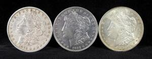1879, 1921 And 1921 D Morgan Silver Dollars