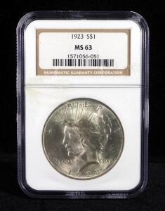 1923 Peace Dollar, Slabbed By NGC