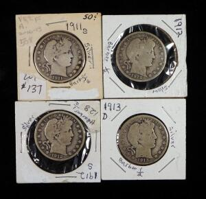Barber Half Dollars, Years Include 1911 S, 1912, 1912 S, And 1913 D