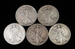Walking Liberty Half Dollars, Years Include 1942, 1943, 1944 S, 1944 D, And Unknown Date (Worn)