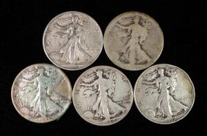 Walking Liberty Half Dollars, Years Include 1937, 1942, 1945 S And 2 Unknown Dates (Worn)