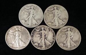 Walking Liberty Half Dollars, Years Include 1940, 1942, 1943 (2), And 1944 D