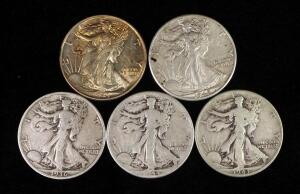 Walking Liberty Half Dollars, Years Include 1936, 1942, 1943 (2) And 1944