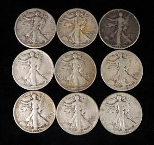 Walking Liberty Half Dollars, Years Include 1935 S, 1936, 1941 S, 1942, 1942 D, 1943 (2), 1944, And 1945 D