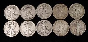 Walking Liberty Half Dollars, Years Include 1937, 1939, 1941, 1941 D, 1942 D (2), 1943 (2), 1943 D, And 1945