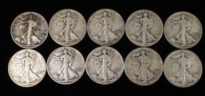 Walking Liberty Half Dollars, Years Include 1942 (4), 1942 S, 1943, 1943 D, 1943 S, 1944, And 1944 D