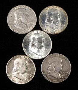 Franklin Half Dollars, Years Include 1949 ,1953 D, 1960 D, And 1963 D (2)