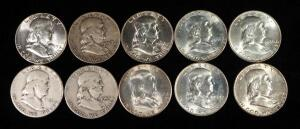 Franklin Half Dollars, Years Include 1950 D, 1951, 1952 S, 1953 D, 1954, 1955, 1956, 1957 D, 1959 D, And 1961 D