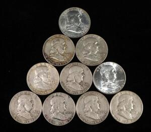 Franklin Half Dollars, Years Include 1951, 1952 D, 1954 D (2), 1957 D, 1958 D (2), 1960, 1960 D, And 1962 D