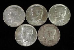 1964 Kennedy Half Dollars, Qty 5