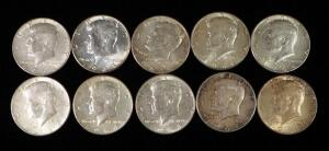 1964 Kennedy Half Dollars, Qty 10