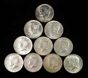 1964 Kennedy Half Dollars, Qty 9 And 1967 Kennedy Half Dollar
