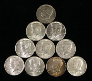 1964 Kennedy Half Dollars, Qty 9 And 1968 Kennedy Half Dollar