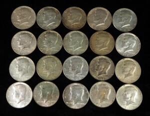 Post 1964 Kennedy Half Dollars, Qty 20, See Images For Years