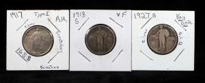 Standing Liberty Quarters, Includes 1917 V1, 1918 S, And 1927 S