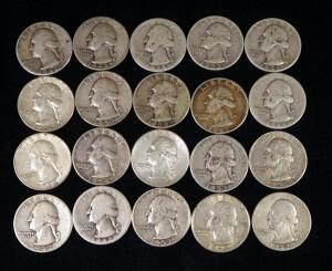 Washington Quarters, Qty 20, Pre-1964, Various Years