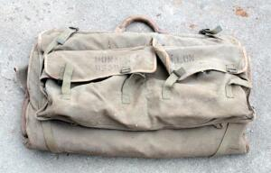 Antique Military Canvas Tent, And Antique Military Canvas Tool Bag