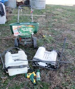 Hudson And Greenwood Back Pack Sprayers, Qty 2, And Scotts Turf Builder Edge Guard DXL Broadcaster