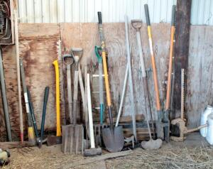Gardening Tools Including, Axes, Sledge Hammer, Post Hole Digger, Shovels, Fence Stretcher, And More
