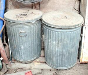 Galvanized Metal Waste Cans With Lids, 26 Gallon, Qty 2