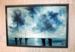 Original Vintage Raymond Klee Oil On Board Nautical Seascape, Professionally Framed, 26in X 38in