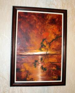 Original Vintage Raymond Klee Oil On Board Autumn Land Seascape, Professionally Framed, 41in X 28.75in