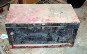 Vintage Solid Wood Tack Box, With Inner Tray, 16in x 31in x 16in, Contents Included