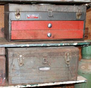 Vintage Portable Metal Tool Boxes, Qty 3