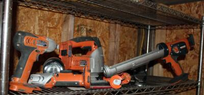 Ridgid Cordless Power Tools, Including Screw Driver, Saw, Impact Driver, Caulk Gun, And Flash Light, No Charger Or Batteries
