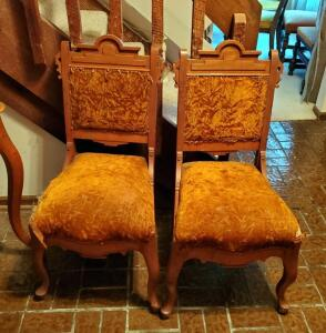 Antique Solid Wood Accent Chairs With Cabriole Legs, Upholstered Seats And Back, Qty 2, Back 37in High, Seat 20in High