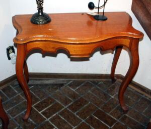 Antique Solid Wood Accent Table With Bow Front And Cabriole Legs, 30in X 38in X 18in, Contents Not Included
