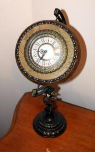 Decorative 20in Battery Operated Globe Styled Clock With Cast Iron Stand