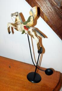 Folk Art Native American Indian & Horse Sculpture Balancing Kinetic Pendulum With Cast Iron Base, 20in Tall