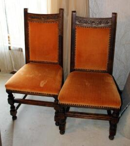 Vintage Carved Rose Back Dining Chairs, Upholstered Seat And Back With Nail Head Trim, Back 40in Tall, Seat 17in Tall, Qty 4