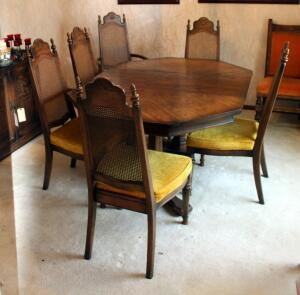 Mid Century American Furniture Co. Dining Room Table, 28.5in X 62in X 44in (Includes Leaf), With Cane Back Chairs, 2 Captain, 4 Dining...