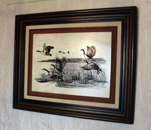 Framed And Matted David Frederick Gray Collectors Art Limited Etching On Marble Of Geese In Flight, Numbered 391/2975, 20.5in X 24.5