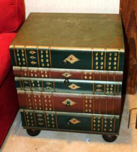 Decorative Stacked Book Design 4 Drawer Accent Table, 24in X 21in X 16in