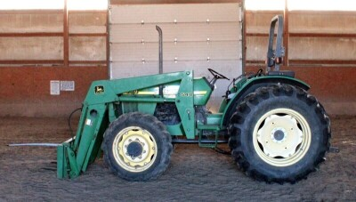 John Deere 5310 Diesel Tractor With Hydraulic Front Bale Spike, 1861.2 Hours Showing, 64HP, Sync Shuttle Transmission, Front Wheel Assist, See Description For Video