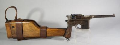 "Waffenfabrik Mauser 1896 ""Broomhandle"" 7.63 Cal Pistol SN# 120632, With Wood Holster That Converts Pistol To Shouldered Rifle And Leather Sling"